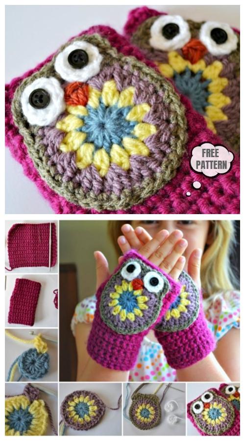 Crochet Owl Mittens Free Crochet Patterns