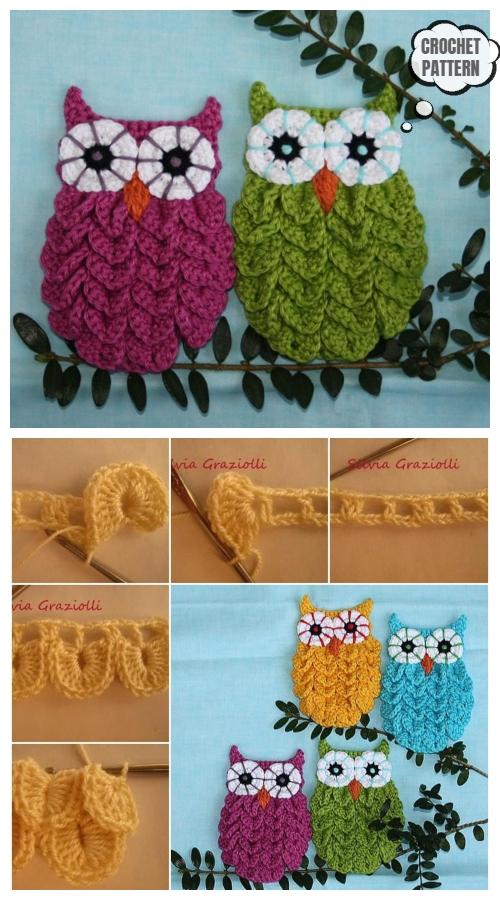 Crochet Crocodile Stitch Owl Wall Art Free Crochet Patterns
