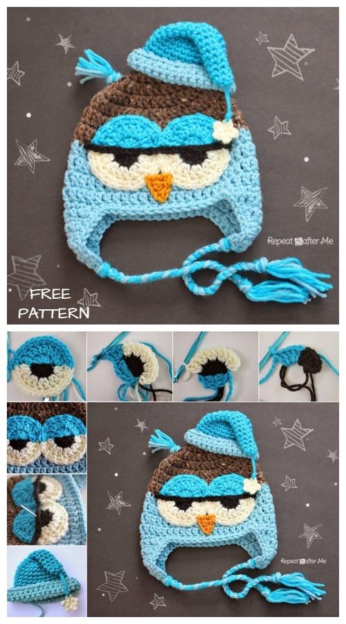 Crochet Drowsy Owl Hat Free Crochet Pattern