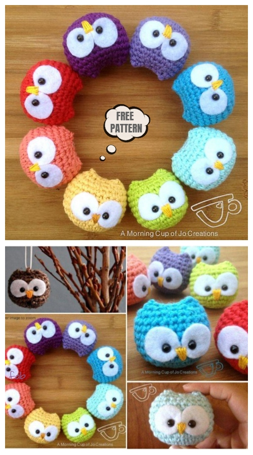 Crochet Baby Owl Ornament Amigurumi Free Patterns