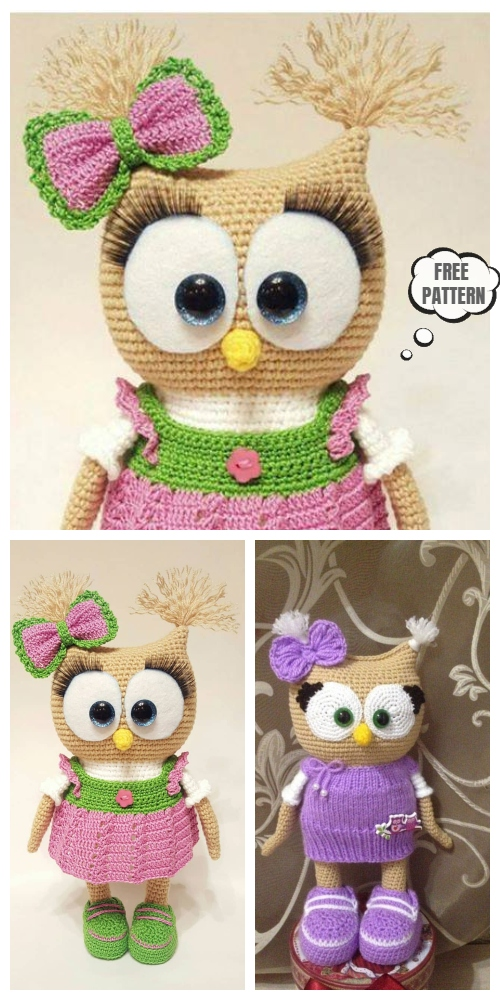 Crochet Owl In Dress Amigurumi Free Patterns
