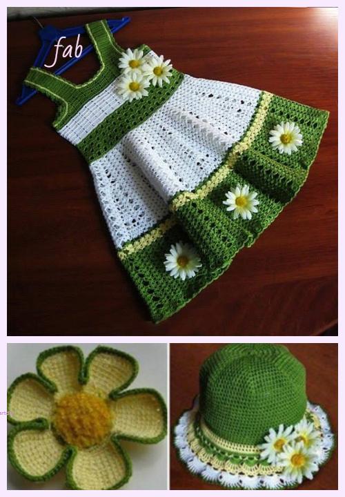Crochet Toddler Girl Lace Dress Hat Set Pattern