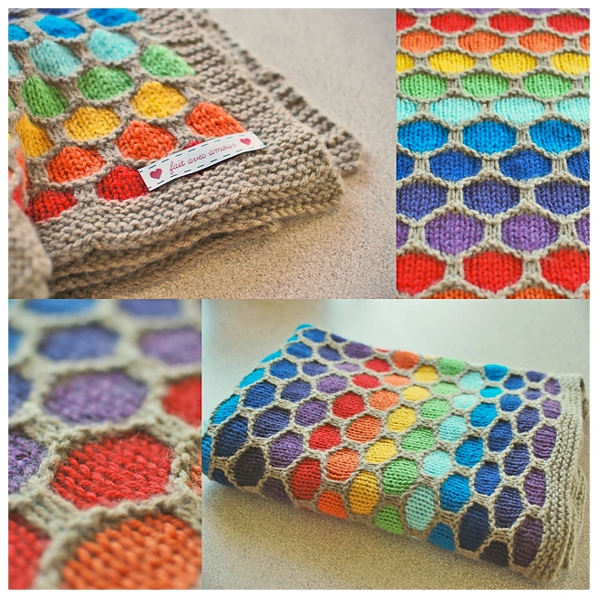Knit Honeycomb Rainbow Blanket Free Knitting Pattern