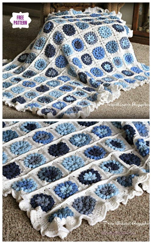 Crochet Blue Puffy Flower Blanket Free Crochet Pattern