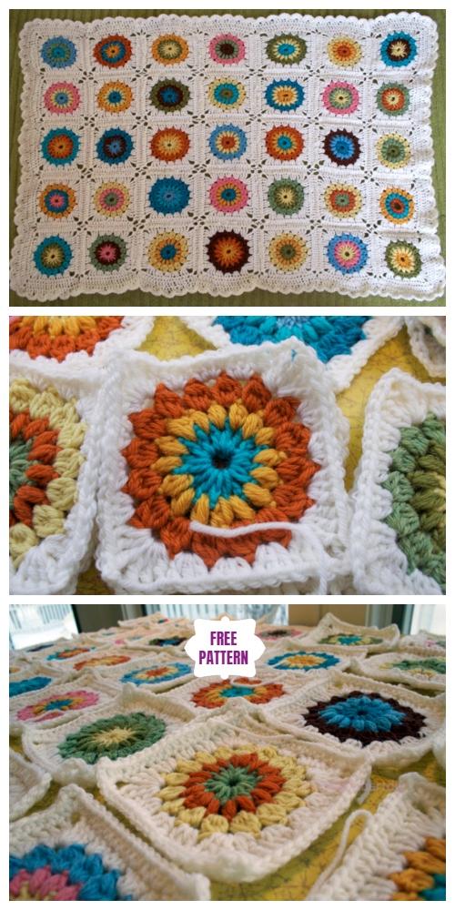 Crochet Sunburst Granny Square Blanket Free Crochet Pattern