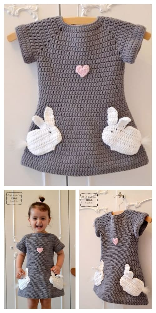 Spring Girl Loved Bunny Jumper Dress Crochet Patterns
