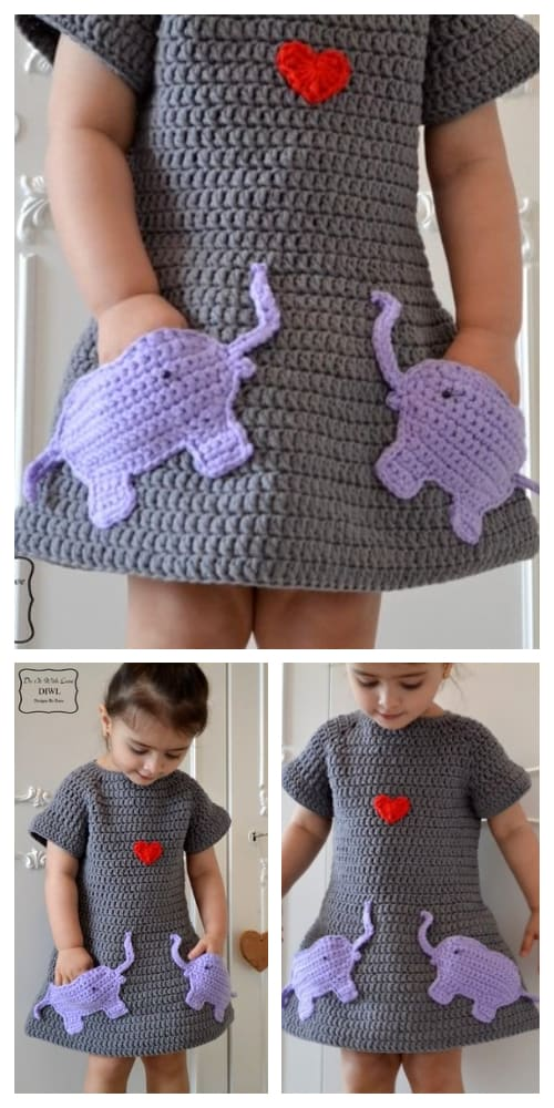 Spring Loved Elephant Jumper Dress Crochet Patterns