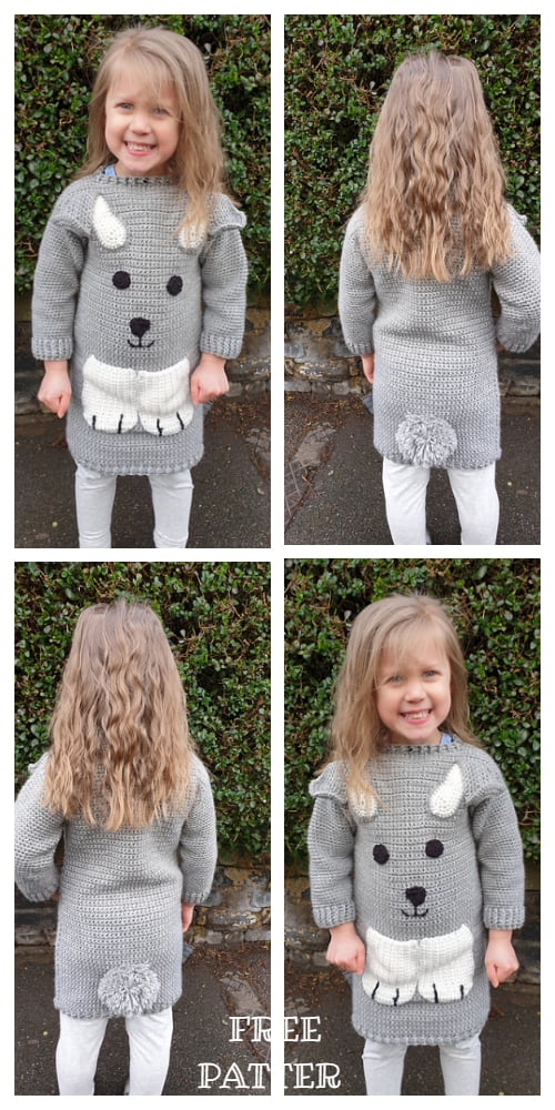Spring Bunny Girl Jumper Dress Free Crochet Patterns