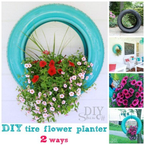 DIY Hanging Tire Planter-20+ DIY Ways to Repurpose Old Tires for Home and Garden