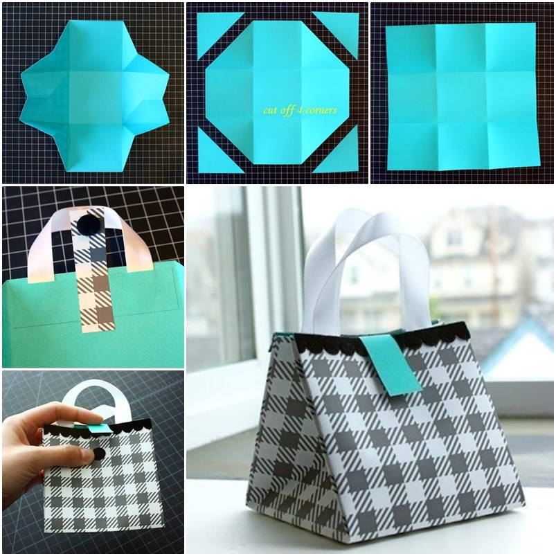 folded paper gift bag diy tutorial