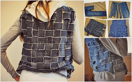 20+ Fabulous DIY Ideas and Tutorials to Refashion Your Old Jeans -Woven Textured Vest from Old Jean D.I.Y Tutorial