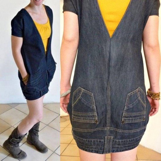 20+ Fabulous DIY Ideas and Tutorials to Refashion Your Old Jeans - Upside Down Demin Jean Dress D.I.Y Tutorial