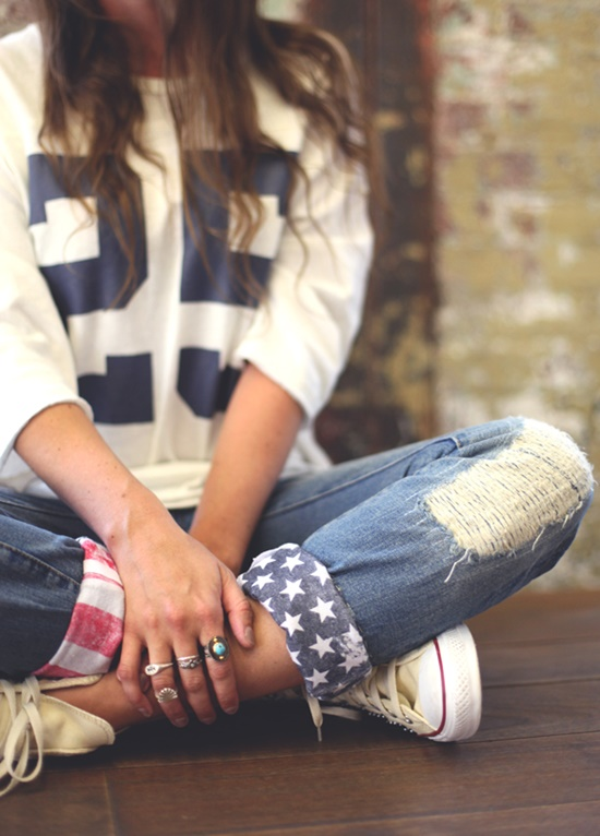20+ Fabulous DIY Ideas and Tutorials to Refashion Your Old Jeans - American Flag Jeans D.I.Y Tutorial