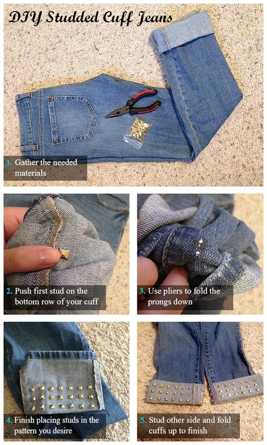 20+ Fabulous DIY Ideas and Tutorials to Refashion Your Old Jeans - Studded Cuff Jeans Alternative D.I.Y Tutorial