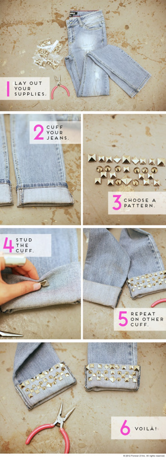20+ FabArtDIY Ways To Rejuvenate Your Old Jeans diy-studded-cuff-jeans2