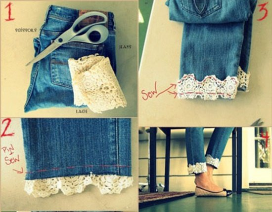 20+ Fabulous DIY Ideas and Tutorials to Refashion Your Old Jeans - Lace Bottom Jeans D.I.Y Tutorial