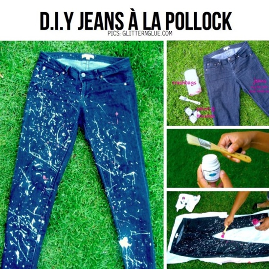 20+ Fabulous DIY Ideas and Tutorials to Refashion Your Old Jeans - Paint Splattered Jeans D.I.Y Tutorial
