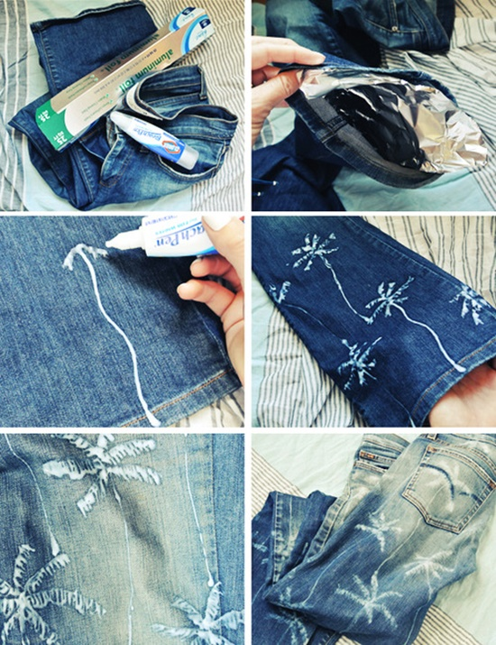 20+ Fabulous DIY Ideas and Tutorials to Refashion Your Old Jeans -  Palm Tree Print Jeans  D.I.Y Tutorial