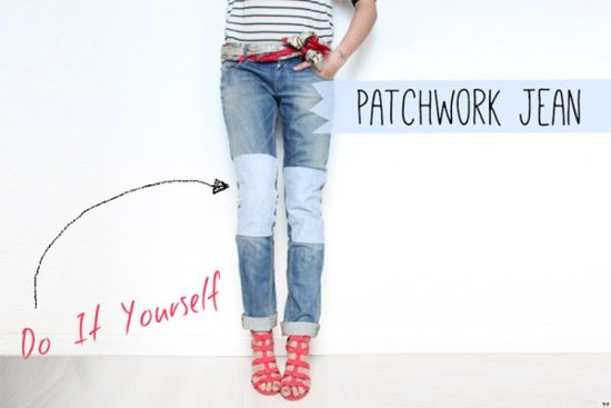 20+ Fabulous DIY Ideas and Tutorials to Refashion Your Old Jeans -   Patchwork Jeans  D.I.Y Tutorial