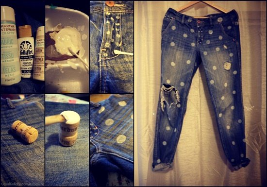 20+ Fabulous DIY Ideas and Tutorials to Refashion Your Old Jeans -  Polkadot Boyfriend Jeans D.I.Y Tutorial