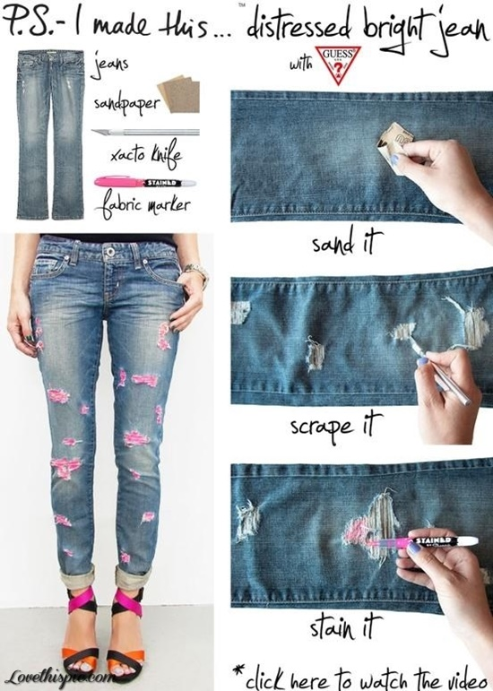 20+ Fabulous DIY Ideas and Tutorials to Refashion Your Old Jeans - Distressed Stained Jeans D.I.Y Tutorial