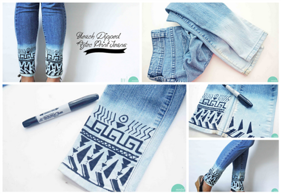 20+ Fabulous DIY Ideas and Tutorials to Refashion Your Old Jeans - Bleached Aztec Style Jeans D.I.Y Tutorial