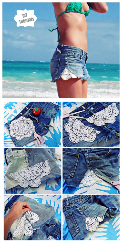 20+ Fabulous DIY Ideas and Tutorials to Refashion Your Old Jeans - Crochet Cutoffs Jean Short easy D.I.Y Tutorial