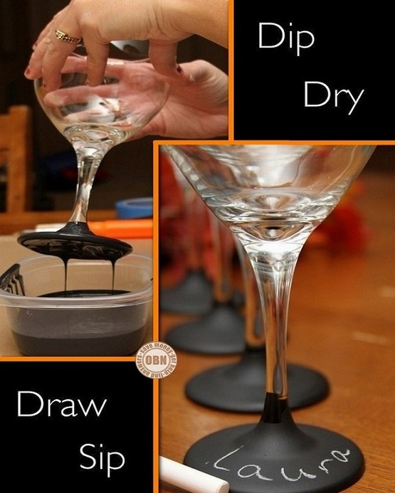 Chalkboard Paint Dipped Wine Glasses