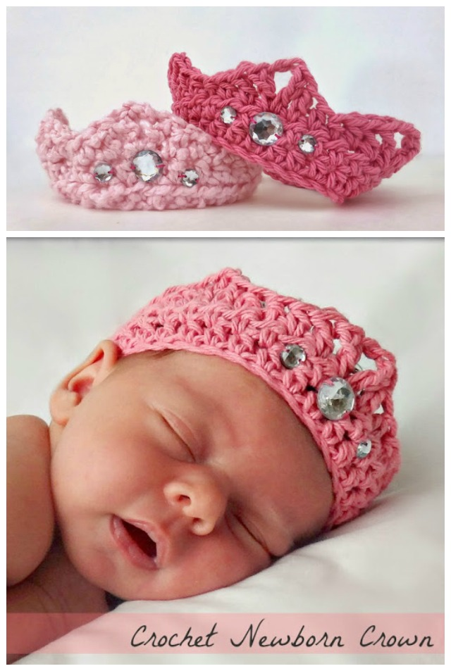 DIY Crochet Newborn Baby Crown Free Pattern
