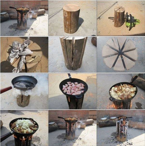Diy a swedish log candle video for Diy camp stove