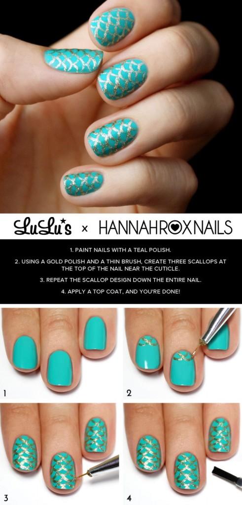 DIY Mermaid Nails Tutorials6