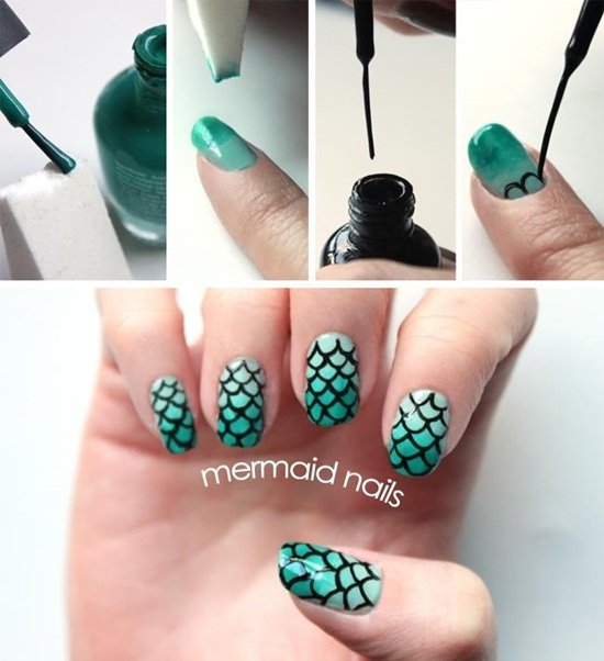 DIY Mermaid Nails Tutorials