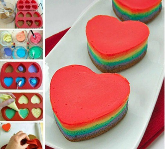 fabart DIY Mini Rainbow Cheesecake Hearts Recipe