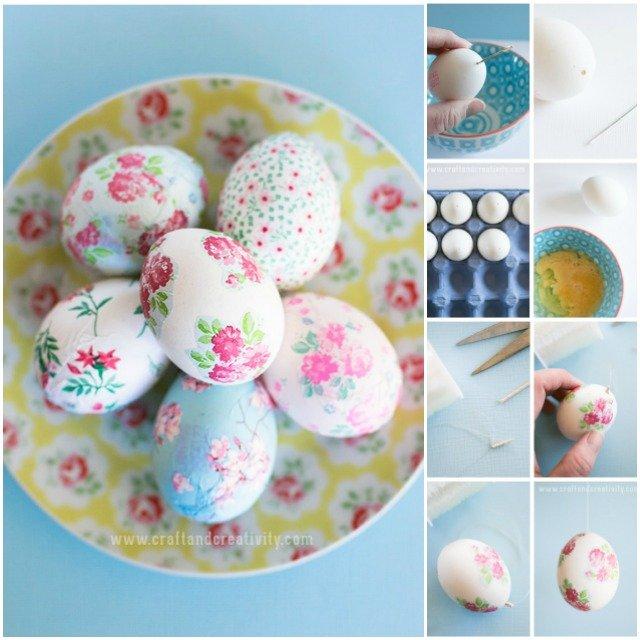 DIY Napkin Decoupage Easter Egg Decorating
