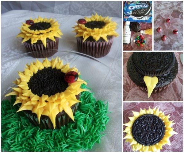 Fabartdiy - DIY Oreo Sunflower Cupcakes Tutorial