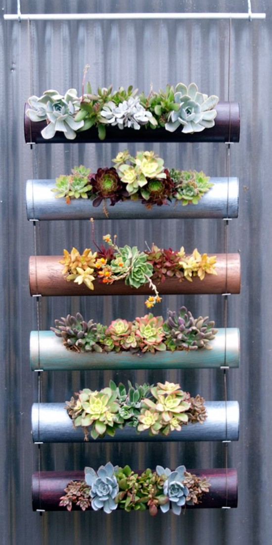 DIY PVC Gardening Ideas and Projects-Hanging PVC Planter Wall