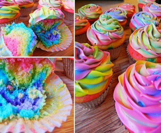 DIY Rainbow Tie Dye Cupcakes Tutorial