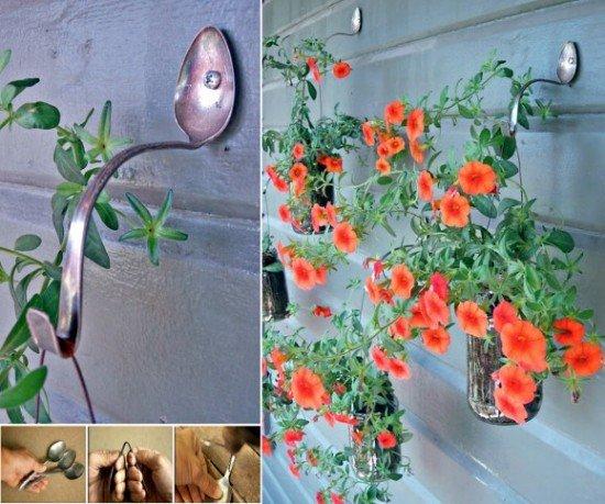 DIY Silver Spoon Hanging Planter