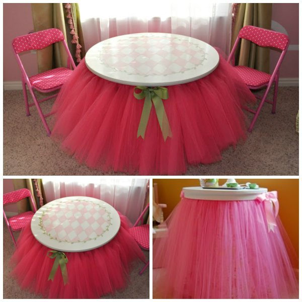 DIY NO Sew Tutu table skirt Tutorial