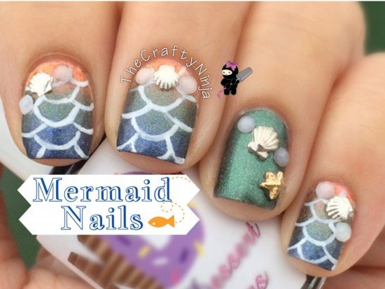 DIY stunning Mermaid Nail Art 8 - DIY Stunning Mermaid Nail Art Tutorials