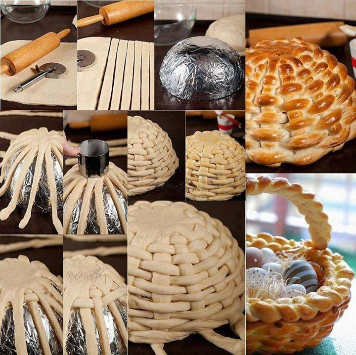 Diy edible braided bread easter basket negle Images
