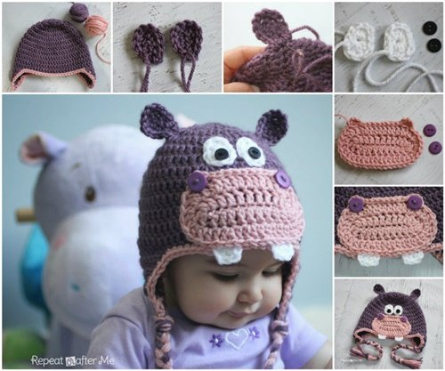 Free Crochet Pattern Baby Girl Boots : DIY Crochet Baby Animal Hat Patterns www.FabArtDIY.com ...