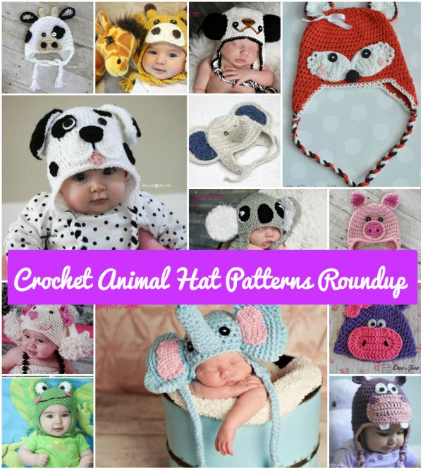 FabArtDIY Cute Crochet Baby Animal Hat Patterns