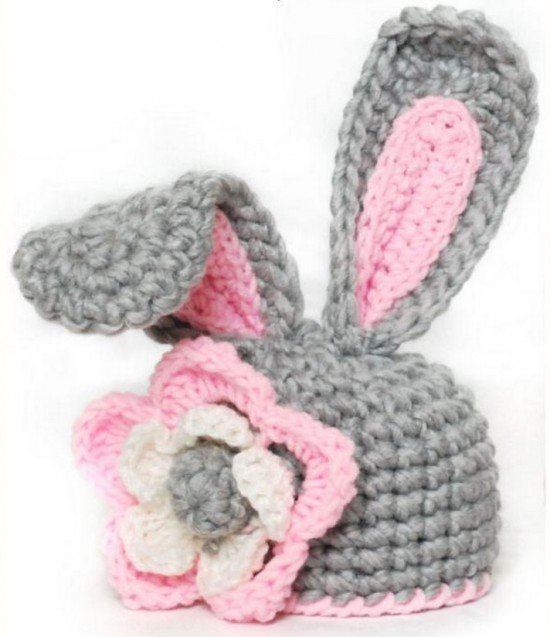 Crochet easter bunny free pattern crochet bunny hat with flower paid pattern via craftsy ccuart Choice Image