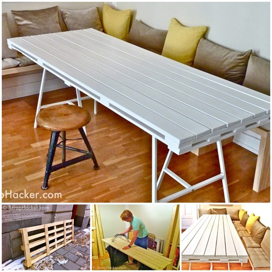 DIY Pallet Dinning Table-DIY Pallet Home Decorating and Furniture Projects and Tutorials