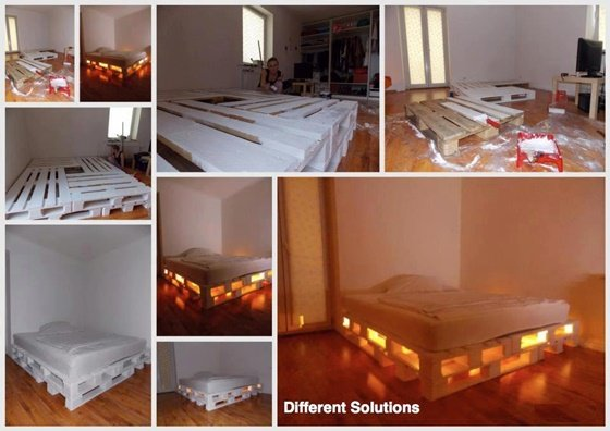 DIY Glowing Pallet Bed-DIY Pallet Home Decorating and Furniture Projects and Tutorials