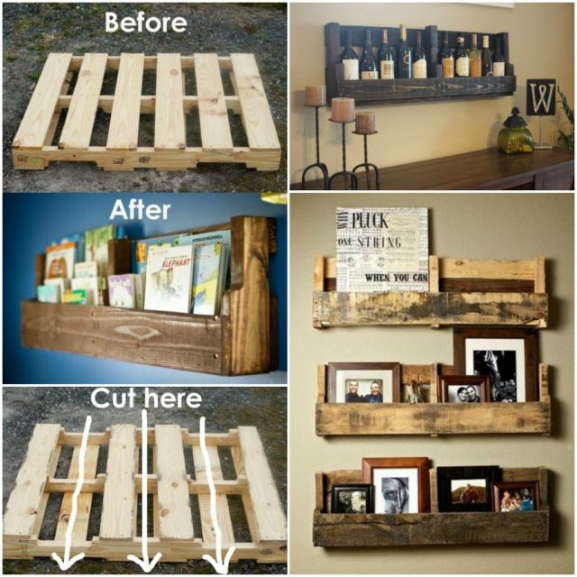 DIY Pallet Home Decorating and Furniture Projects and Tutorials-DIY Pallet Wall Wine/Book Shelf