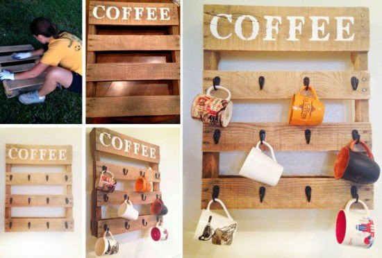 DIY Pallet Coffee Cup Holder-DIY Pallet Home Decorating and Furniture Projects and Tutorials