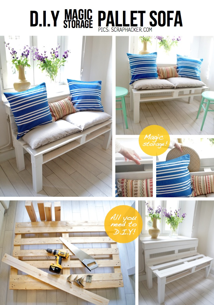 DIY Pallet Home Decorating and Furniture Projects and Tutorials-Storage Pallet Sofa