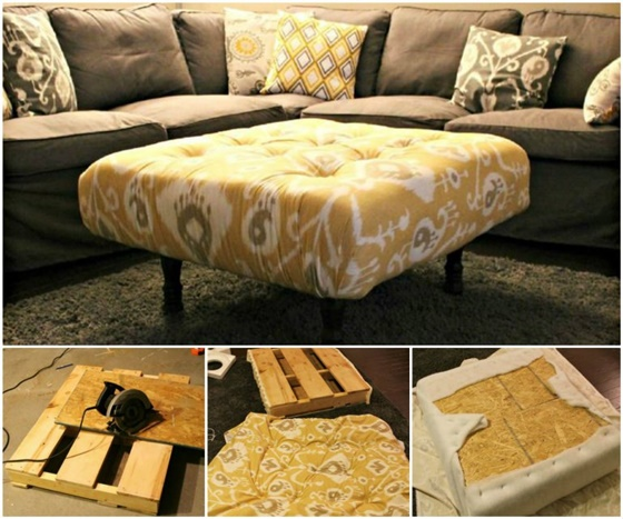 DIY Pallet Ottoman-DIY Pallet Home Decorating and Furniture Projects and Tutorials